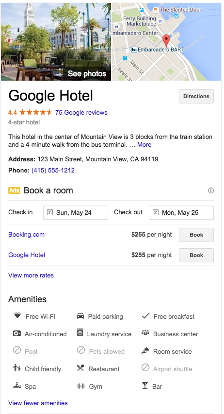Resultado local Google hotel